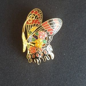 Vintage  colorful inlay butterfly scarf brooch pin
